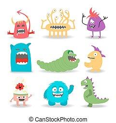 Set of nine cartoon cute monsters on white background.