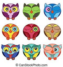 Set of nine cartoon oval owls