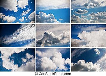 Set of nine cloudy sky