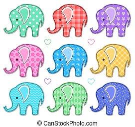 Set of nine color elephants
