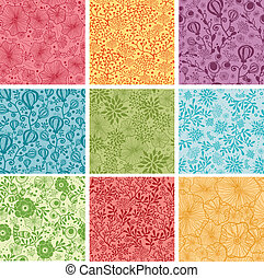 Set Of Nine Colorful Flowers Seamless Patterns Backgrounds