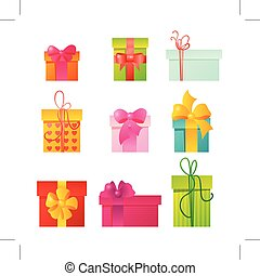 Set of nine colorful icons gift boxes