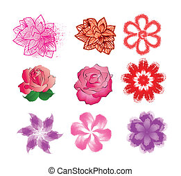 set of nine colors for flower pattern