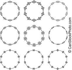 Set of nine decorative vector  round frames