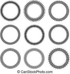 Set of nine decorative vector round frames for your design