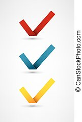 Set of nine different colorful vector check marks