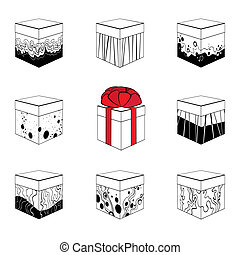 Set of nine different gift boxes