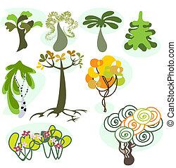 Set of nine different trees