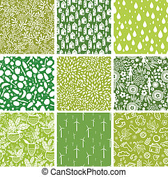 Set of nine ecological seamless patterns backgrounds