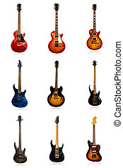 Set of nine electric guitars - Kit of different electric ...