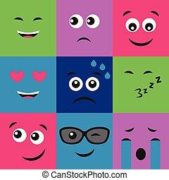 Set of nine emoji icon in square
