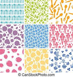 Set of nine food seamless patterns backgrounds