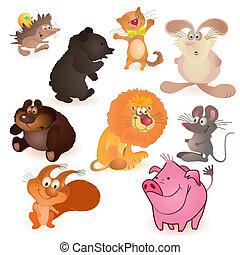 Set of nine funny animals - mouse, pig, rabbit, bears, ...