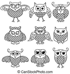 Set of nine funny cartoon owl outlines