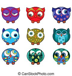 Set of nine funny various oval owls