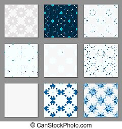 Set of nine geometric blue seamless patterns.
