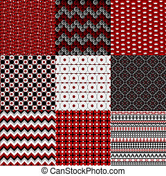 Set of nine geometrical retro backgrounds in red , black and white