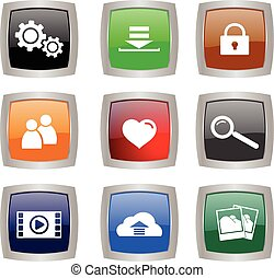 set of nine glossy buttons with internet and tech symbols