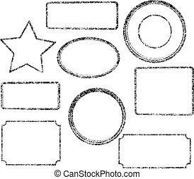 Set of nine grunge black vector templates for rubber stamps