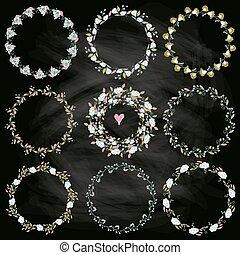 Set of nine hand-draw vector laurel wreaths. Sketch frames, hand-drawn in vintage style.