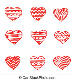 set of nine hand drawn hearts