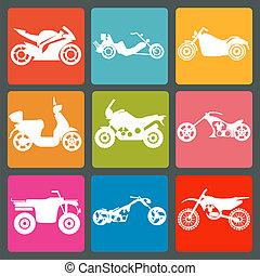 Set of nine icons of motorbikes. Vector illustration
