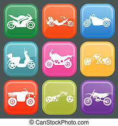 Set of nine icons of motorbikes. Vector illustration