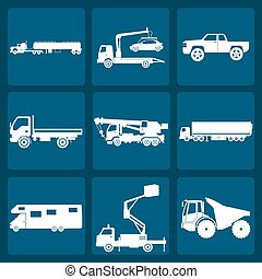 Set of nine icons of trucks. Vector