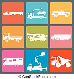 Set of nine icons of trucks. Vector