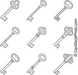 Set of nine keys silhouettes vector