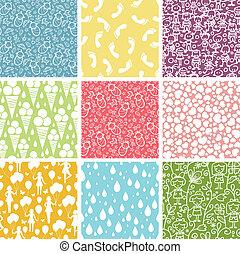 Set of nine kiddie things seamless patterns backgrounds