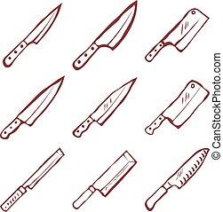 Set of nine kitchen knives vector