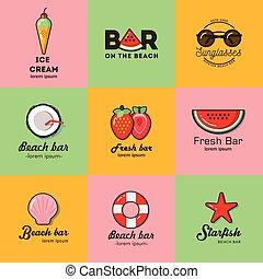 Set of nine logos for summer beach bar