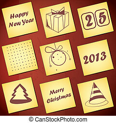 Set of nine New Year cards