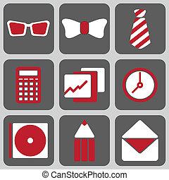 Set of Nine Office Icons