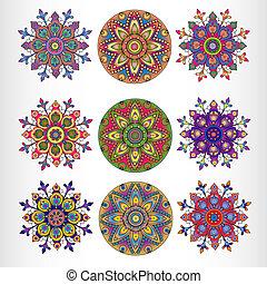 Set of nine ornamental round lace pattern.