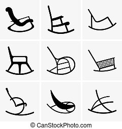 Set of nine Rocking chairs
