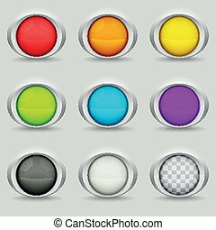 Set of nine round buttons