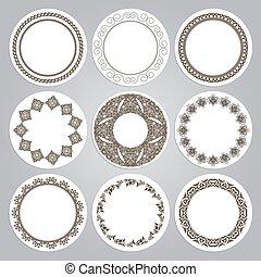 Set of nine round frames in luxury style. Eastern motifs.