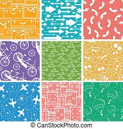Set of nine seamless patterns backgrounds