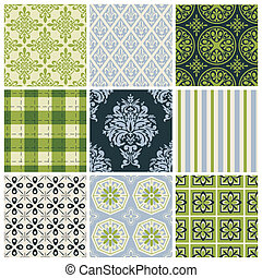 Set of nine seamless patterns