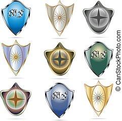 Set of nine shields - Vector illustration collage of nine...