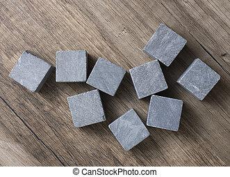 Set of nine spirit chilling gray stones. Soapstone rocks are...