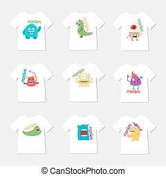 Set of nine t-shirts with cartoon cute monsters.
