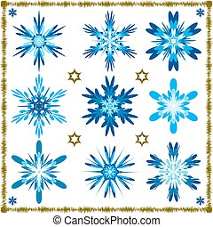 Set of nine vector isolated snowflakes isolated