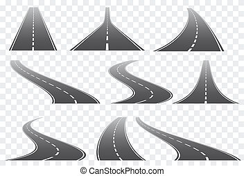 Set of nine vector roads wit white marks isolated on transparent background. Vector EPS 10.