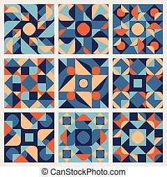 Set of Nine Vector Seamless Blue Orange White Color Retro Geometric Ethnic Square Quilt Pattern Collection
