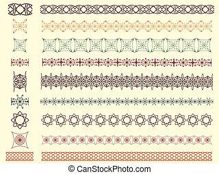 set of nine vector seamless borders