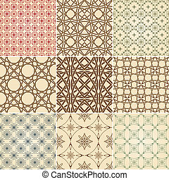 set of nine vector seamless patterns