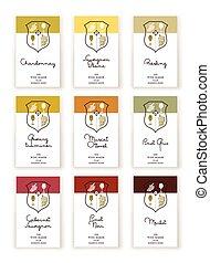 Wine label templates - Set of nine Wine label templates for ...